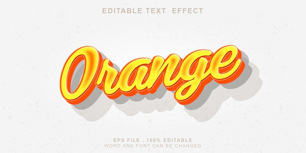 Editable text effect orange 3d