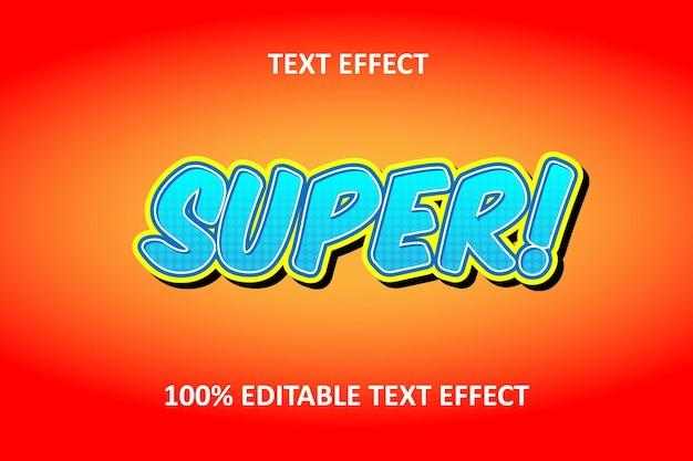 Редактируемый текстовый эффект оранжевый синий комикс