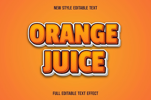 Editable text effect orange color orange and white