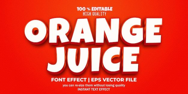 Editable text effect orange juice style