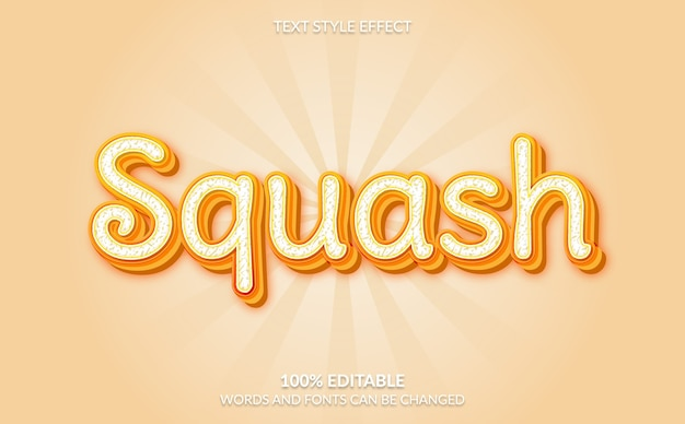 Editable text effect, orange squash text style