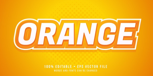 Editable text effect orange text style