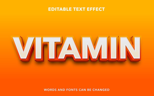 Editable text effect for orange vitamin