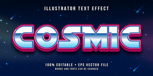 Editable text effect - outer space style