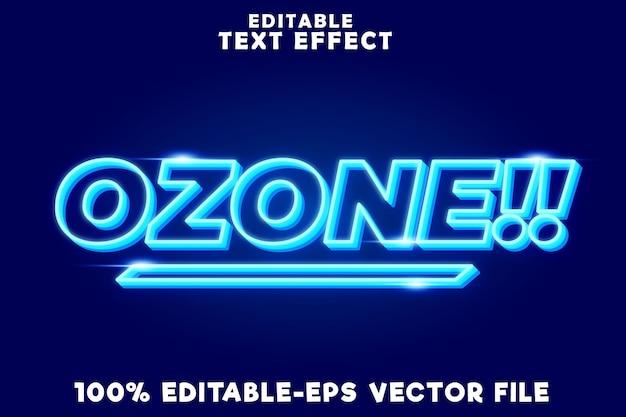 Редактируемый текстовый эффект озона с синим современным неоновым стилем