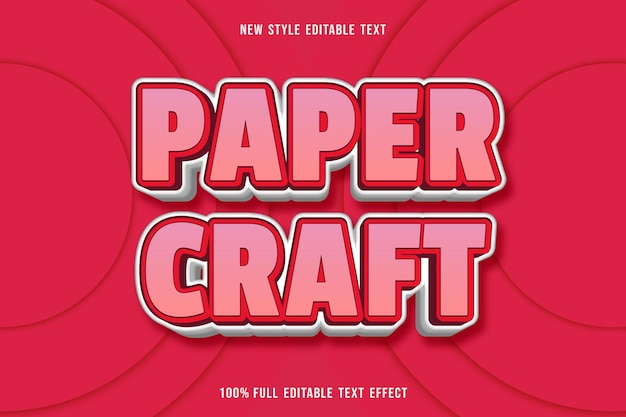 Editable text effect paper craft in pink and white