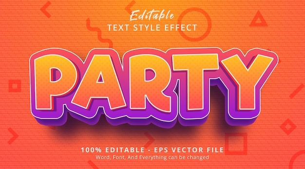Editable text effect, party text on cartoon style with fancy color effect