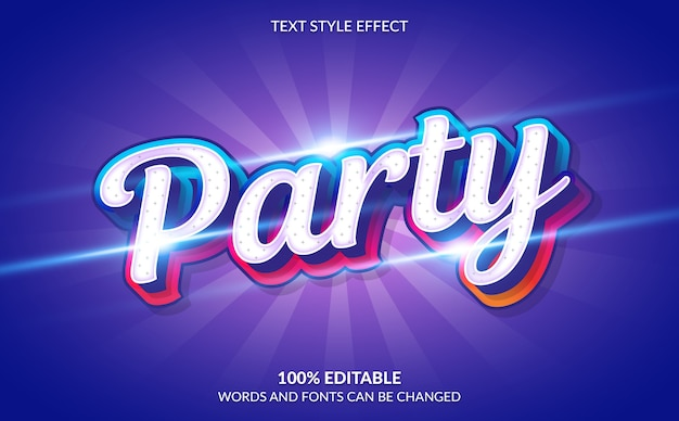 Editable text effect party text style
