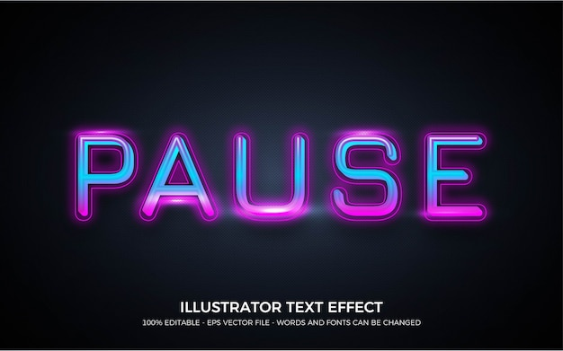 Editable text effect, pause style