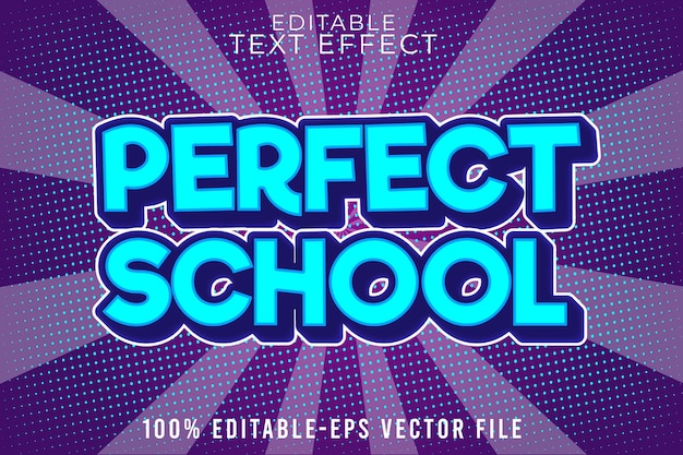 Editable text effect perfect school with modern comic style