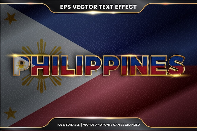 Effetto di testo modificabile - filippine con la sua bandiera nazionale