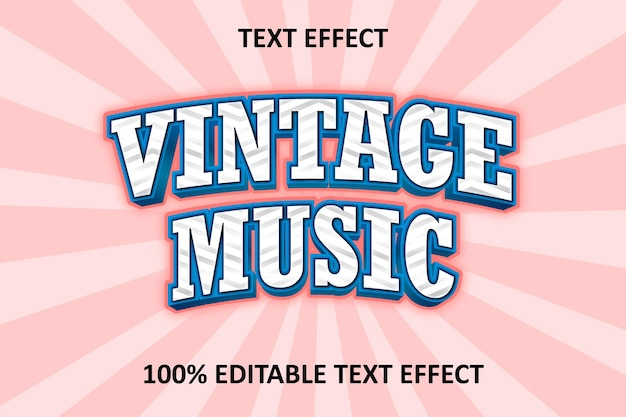 Editable text effect pink blue vintage