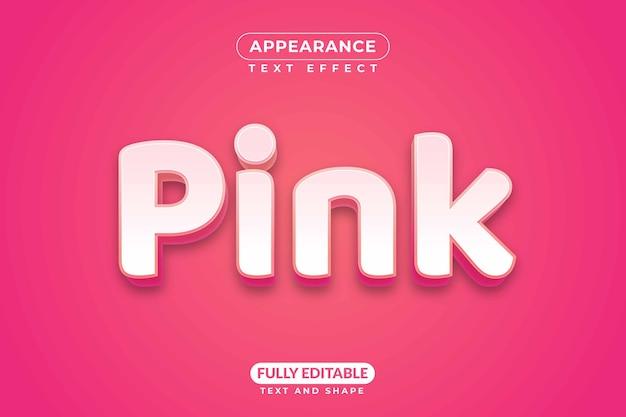 편집 가능한 텍스트 효과 핑크 색상 여성스러운 외관