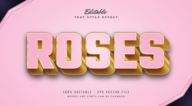 Editable text effect in pink and gold with embossed effect
