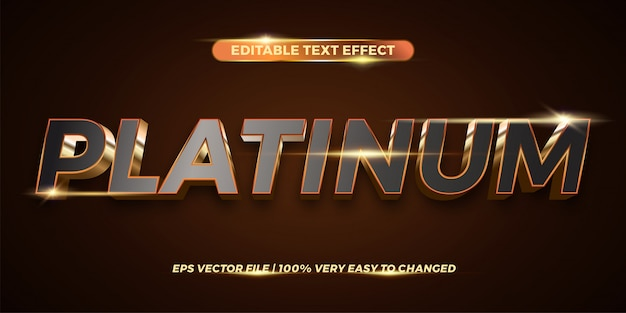 Editable text effect - platinum word