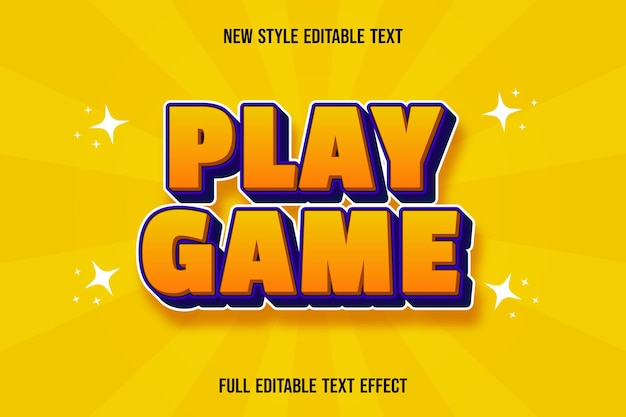 Editable text effect play game color orange and purple