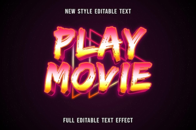 Editable text effect play movie color pink white and yellow