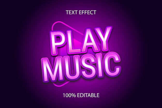 Редактируемый текстовый эффект воспроизведение музыки, цвет фиолетовый