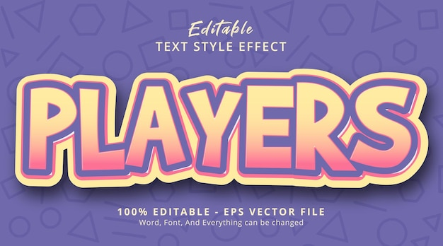 Editable text effect, players text on layered fancy color style