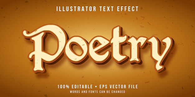 Editable text effect - poetry style
