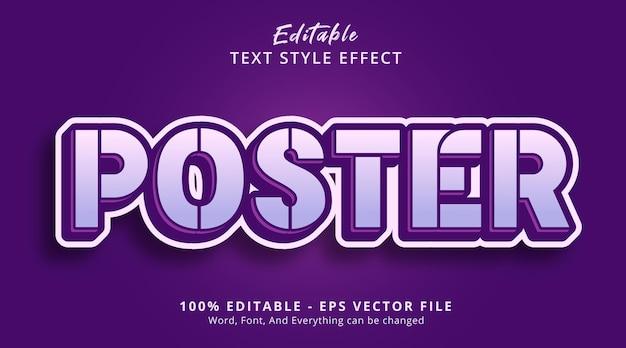 편집 가능한 텍스트 효과 레이어가 있는 보라색 색상 스타일의 포스터 텍스트