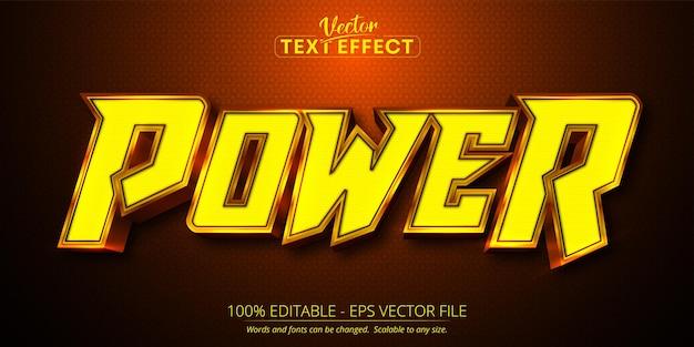 Editable text effect power text cartoon text style