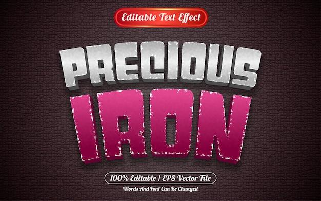 Редактируемый текстовый эффект в стиле шаблона драгоценного железа