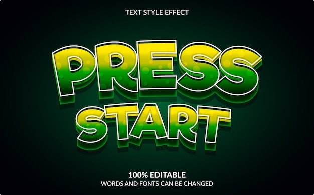 Editable text effect, press start, video game text style