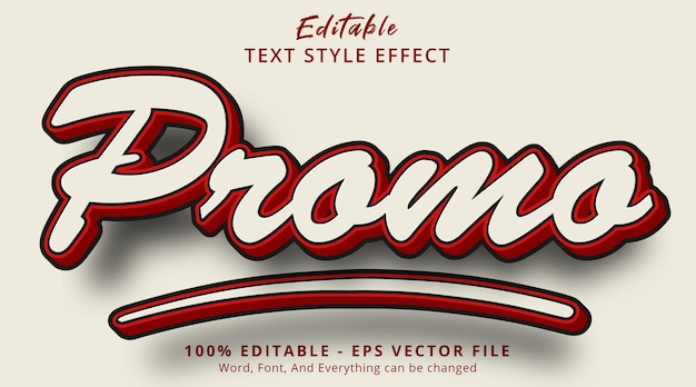 Editable text effect, promo text on vintage color combination effect