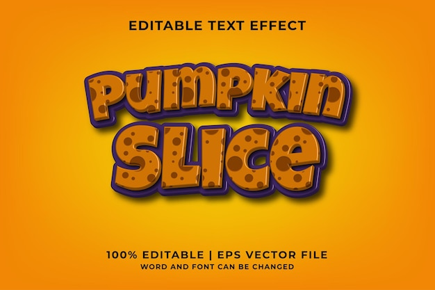 Editable text effect - pumpkin slice 3d template style premium vector