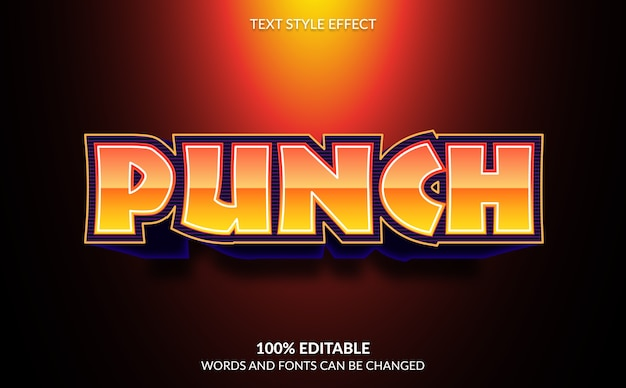 Editable text effect, punch, strong bold modern text style