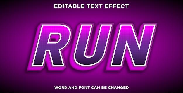 Редактируемый текстовый эффект фиолетовый бег