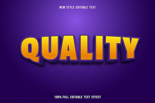 Editable text effect quality color yellow and purple