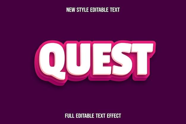 Редактируемый текстовый эффект квеста цвет кремовый и розовый