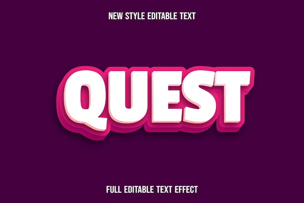 Editable text effect quest color cream and pink
