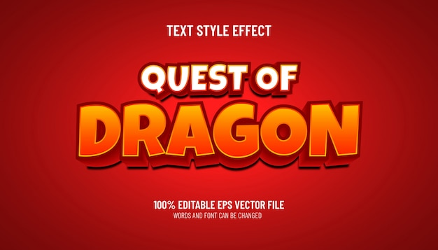 Editable text effect quest of dragon game style
