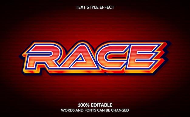 Editable text effect race text style