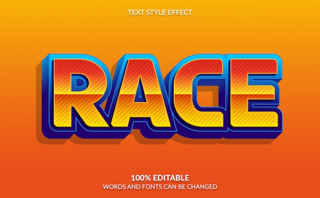 Editable text effect, race with comic text style