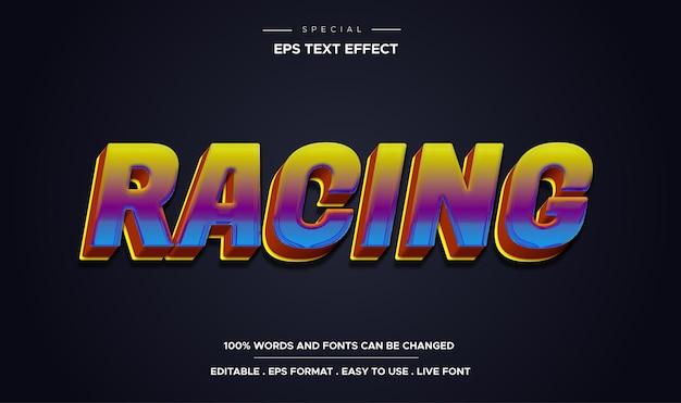Editable text effect racing style