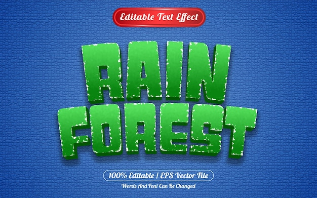 Редактируемый текстовый эффект тропического леса в стиле шаблона
