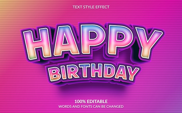 Editable text effect, rainbow happy birthday text style