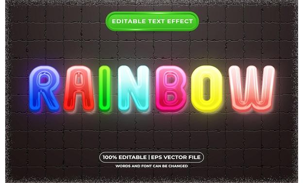 Редактируемый текстовый эффект радуги в шаблоне стиля