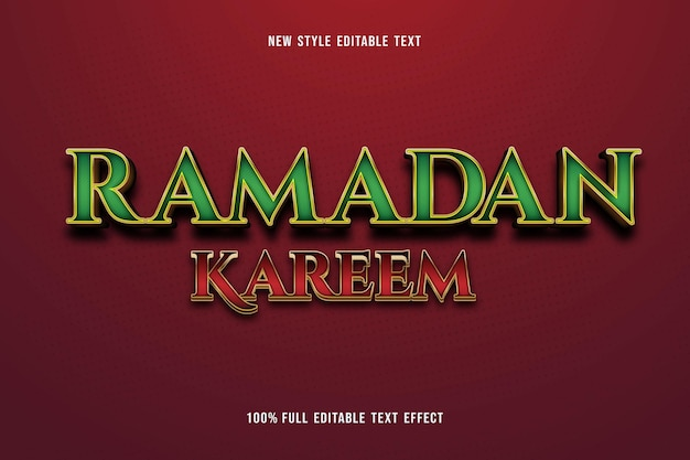 Editable text effect ramadan kareem color green and red gold