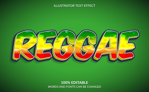 Editable text effect, reaggae text style