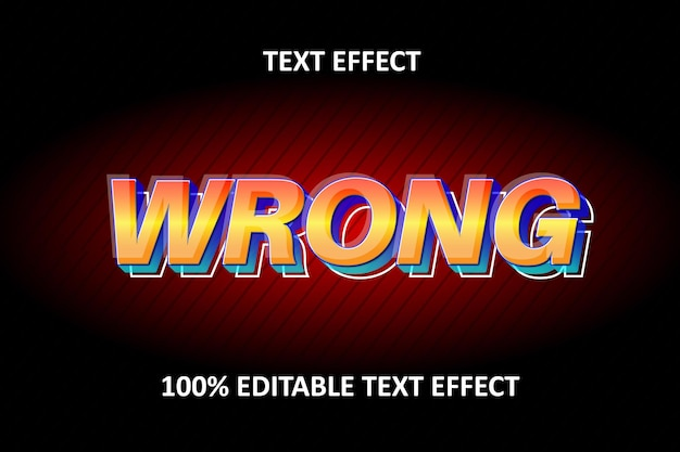 Editable text effect red blue yellow