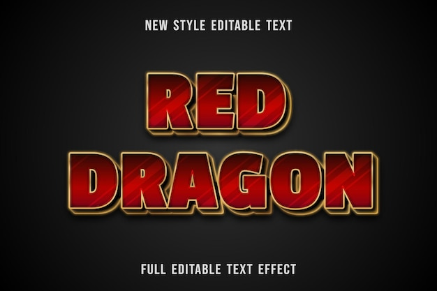 Editable text effect red dragon color red and gold