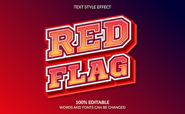 Editable text effect, red flag text style