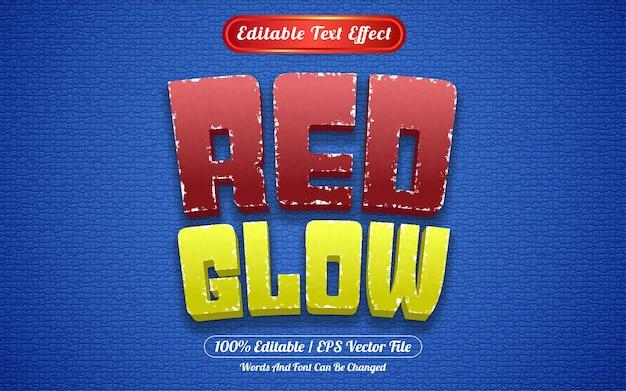 Редактируемый текстовый эффект красного свечения в стиле шаблона