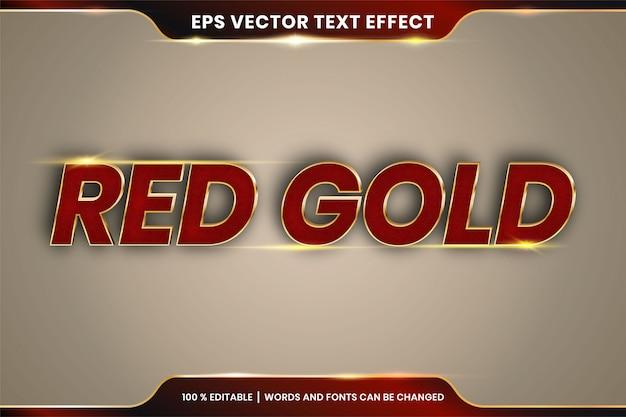 Редактируемый текстовый эффект - красное золото