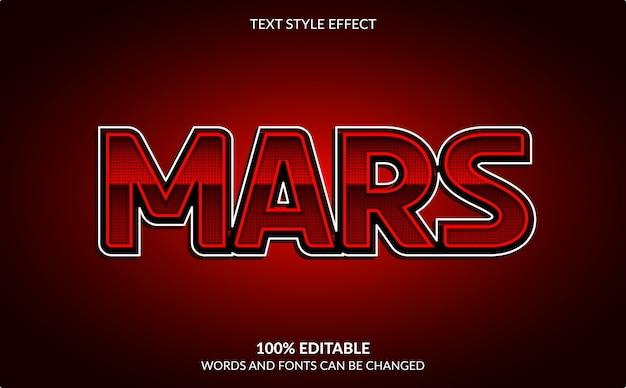 Editable text effect, red mars text style